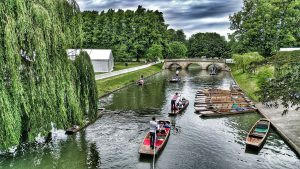 Punts at Trinity college during May week