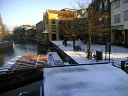 Cambridge Quayside with a dusting of snow