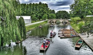 Punts at Trinity College Cambridge during May week